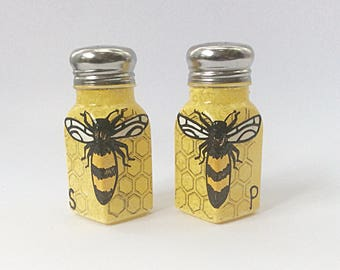 Bee hand painted glass salt and pepper shakers