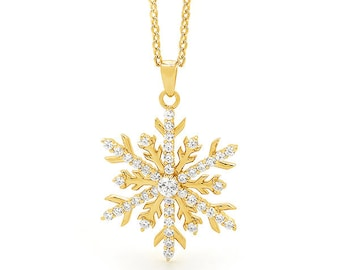 Yellow Gold Snowflake Necklace