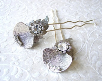 Jeweled Abstract Flower Hair Pin Pins Comb Vintage Jewelry Hairpins Rhinestone Hairpiece Wedding Bridal Formal Boho Prom Ballroom Chic Bride