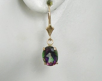 14K Solid Gold Dangle Mystic Topaz Oval Lavelier Lever Back Drop Gemstone Earrings Secure Eurpean Wires with Spring Clasp 14KMY9x7OVLLB