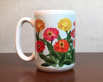 Coffee Mug Featuring Zinnia Flowers