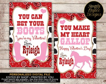 School Printable Cowgirl Valentine's Day Cards