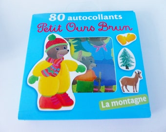 Little brown bear Mountain Pines Stickers 80 stickers sledding animal gloves