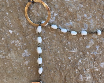 White and gold crescent moon lariat necklace, bohemian lariat necklace, repurposed vintage rosary bead lariat necklace