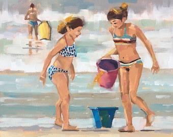 Beach Girls, Beach Bucket, Boogie Board, Original Oil Painting by California artist, Bridget Hobson, 8x8 inch, free domestic shipping