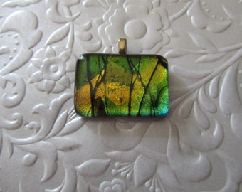"""Dichroic Pendant - Fused Dichroic Jewelry - Fused Glass - Glass Jewelry - Measures 1.25"""" x .75"""""""