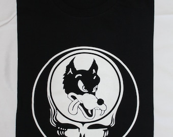Dire wolf Steal Your Face Tshirt Deadhead Grateful Dead Shirt Jerry Garcia T-Shirt Black or Chocolate One Sided Tee