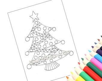Printable Christmas Tree Coloring Page, Holiday Zentangle Inspired Holiday Activity (Christmas Coloring Page 3)