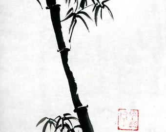 Bamboo Sumi Chinese Ink Painting Original Art