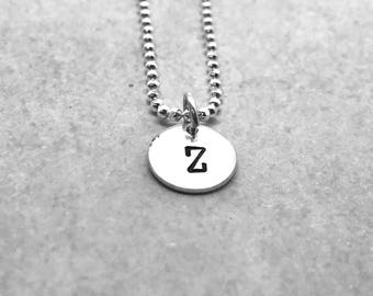 Letter Z Necklace, Sterling Silver, Initial Necklace, All Letters Available, Hand Stamped Jewelry, Everyday Necklace, Gift for Her