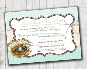 Growing Nest Baby Shower Invitation- high resolution digital file