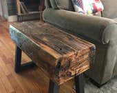 150 Year Old Reclaimed Barn Beam Bench on Heavy Iron Legs