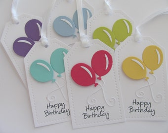 Happy Birthday Gift Tags, Birthday Favor Tags, Birthday Balloon Tags, Balloon Gift Tags, Birthday Party Tags, Favor Tags, Happy Birthday