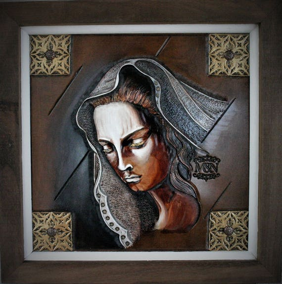 painting, Art on leather, religious, medieval inspiration,Mater Dolorosa, faith, Virgin Mary