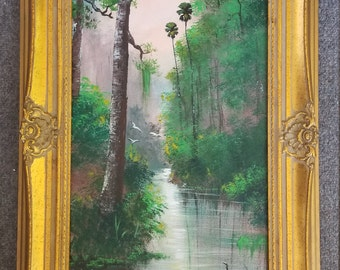 Original Painting Florida Landscape Art Tropical Acrylic Painting Palm Tree Creek south florida 12x24 framed ornate  by Oscar Whirls