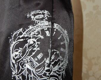 Screen Printed Black satin culottes