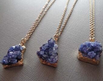 Blue Druzy Necklace Gold / Blue Freeform Druzy / Chunky Druzy Necklace / Natural Blue Druzy Druze Necklace / GD7
