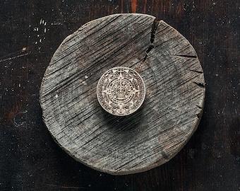 Mayan Calendar brooch, Mayan Calendar Jewelry Aztec Calendar Mayan Pendant Wooden Astronomy Jewelry Archaeology Jewelry