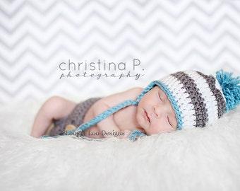 Earflap Crochet Hat, baby boy, newborn photo prop, Earflap Hat, Baby Girl, handmade -Sizes NEWBORN to 12 MONTHS -more color options