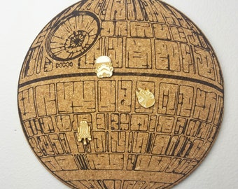 Star Wars Deathstar Cork Board | Enamel Pin Display | Laser Cut Cork Board | Handmade Decor