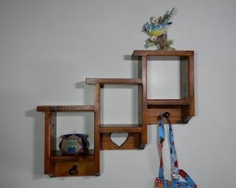 Vtg 3 Shelf Solid Wood Rack Shadow Box w/ Pegs Carved Heart Brown Stain Wall Organizer Three Tier Unit Hanger Hat Coat Curio Display Storage