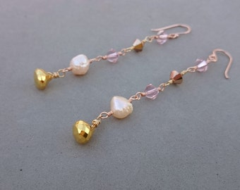Rose Gold Earrings - Pink Freshwater Pearl Earrings with Swarovski Crystal and Pyrite