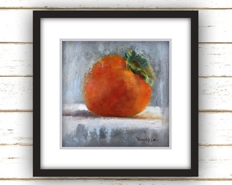 Persimmon Painting Print - Original Fine Art Still Life Painting Print