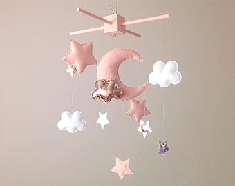 Rose Gold Nursery Decor . Moon & Stars Baby Mobile . Baby Pink Nursery Decor . Baby Girl Baby Shower Gift . Pink And Rose Gold Decor