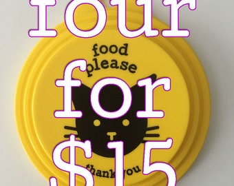 DISCOUNT, 4 for 15! Reusable plastic lid for food cans, fits three sizes of cans