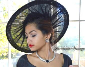 Hattie Carnegie 50s Hat Vintage Wide Brim New Look Sheer Black Horsehair