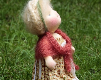 """Nadine OOAK Waldorf Inspired Doll by Atelier Lavendel Natural Fibers Doll Cloth Doll 11"""" ECO friendly"""