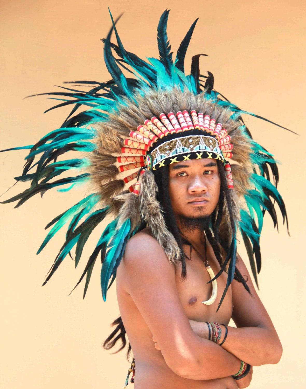 Penacho de plumas estilo Indio nativo americano tocado de