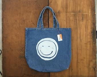 Don't Worry, Be Human Denim Tote Bag