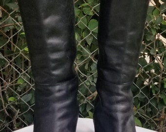 Sz. 11 Woman's Black Leather Riding Boots