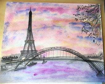 Original watercolour painting - Paris Eiffel Tower and the Seine scene