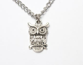 Silver Owl Necklace Jewelry, Owl Charm Pendant Necklace, Bold Statement Necklace,Silver Owl Necklace, Tiny Owl Charm Necklace, Owl Jewelry,