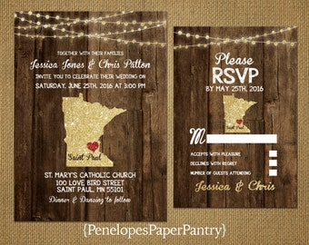 State of Minnesota Destination Wedding Invitations,Rustic,Gold Glitter Print,Strands of Lights,Heart,Opt RSVP,Customizable With Envelopes