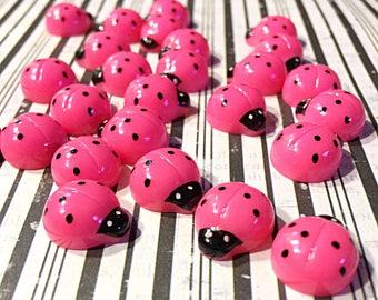 Kawaii pink ladybug cabochons