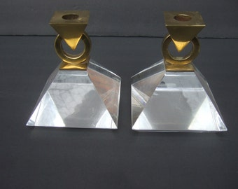 Sleek Lucite Brass Metal Candle Holders c 1970