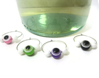 Evil Eye Beaded Wine Glass Charms / Wine Glass Charm Accessories / Pink Green Purple Black Wine Glass Charm