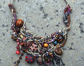 EXQUISITE ADRIATIC NECKLACE - Wearable Fiber Art Jewelry As It's Best, Richly Beaded & Embellished