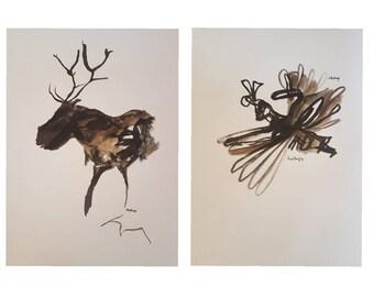Original ink drawings. Framed.