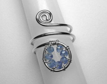 Tanzanite Knuckle Ring in Silver