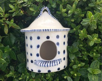 Handbuilt Ceramic Round Birdhouse, Blue Polka Dot Clay Birdhouse, Birdhouse, Round Birdhouse, Blue and White Birdhouse, Handmade Birdhouse,