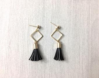 BIG SALE: Tassel drop earrings, leather tassel earrings, geometric earrings, dangle earrings, square earrings, tassel jewelry, gift for her