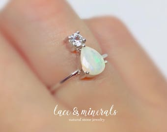 Opal ring engagement ring pear shaped ring | Sterling silver ring | handmade jewelry | pear cut ring | gift for women | Ethiopian opal ring