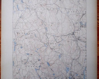 1890 Map Worcester Paxton Holden Rutland, West Boylston, Sterling Princeton Massachusetts MA Antique Large Original Topographical Vintage