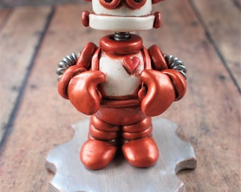 Rosemout the Mini Robot Sculpture Rustic Grump Companion TECHIE Gift  One Of A Kind Keepsake