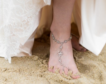 Pearl and Crystal Bridal Barefoot Sandals
