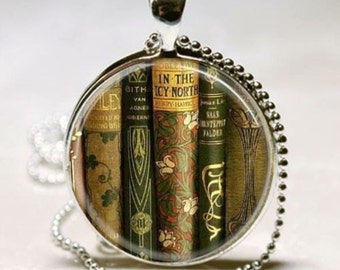 Antique Old Vintage Library Books Teacher Librarian Book Club Bibliophile Stocking Stuffer Christmas Gift Pendant Charm Necklace